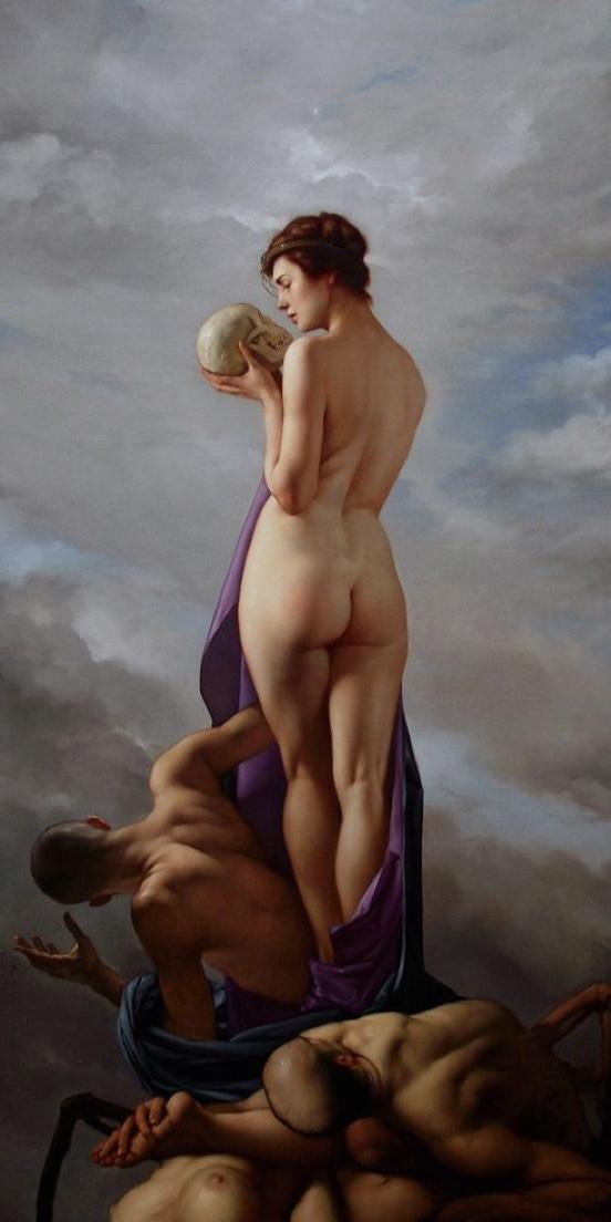 woman standing skull
